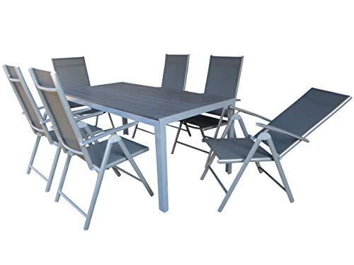 Mandalika Garden 7-teilige Aluminium Textilen Polywood Gartenmöbelgruppe Hot XL, 6 Klappsessel Bolero und EIN Gartentisch Fire XL 180x90 mit Polywood-Platte, Silber