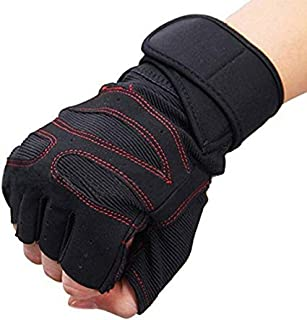 DreamPalace India Leather Wrist Support Gym and Fitness Gloves (Red and Black)