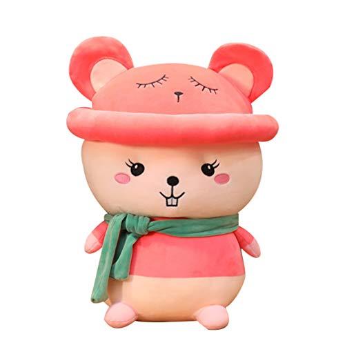 STOBOK 38 Cm Felpa Ratón Bufanda Sombrero Peluche Rata Animal Zodiaco Rata Juguete Mascota Niños Regalos para 2020 Año Nuevo Chino Día de San Valentín Rosa