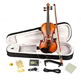 New Glarry 4/4 Solid Wood EQ Violin Case Bow Violin Strings Shoulder Rest Electronic Tuner Connecting Wire Cloth Black/Matte (Matte)