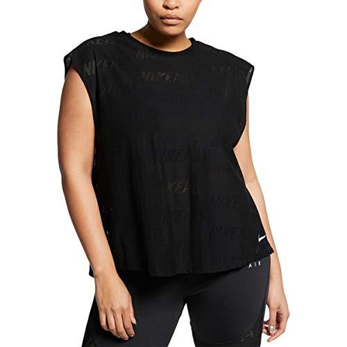 Nike Womens Plus Size Air Logo-Print T-Shirt, Black, 2X