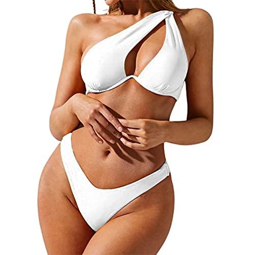 ZAFUL One Shoulder Underwired Bikini High Cut 2 Piece Swimwear for Women White