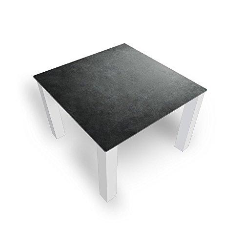 DekoGlas Couchtisch 'Granit Grau' Glastisch Beistelltisch für Wohnzimmer, Motiv Kaffee-Tisch 80x80 cm in Schwarz oder Weiß