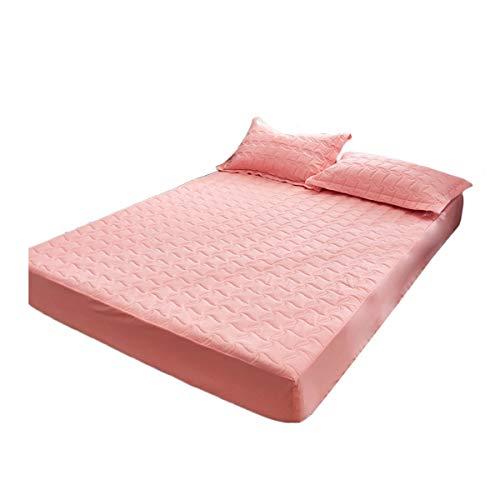 HOMFLOW Protector De Colchón Comodidad Transpirable Funda De Colchon Impermeable Durable Resistente Al Encogimiento Cepillado para Dormitorios (Color : Pink Jade, Size : 120x200cm)