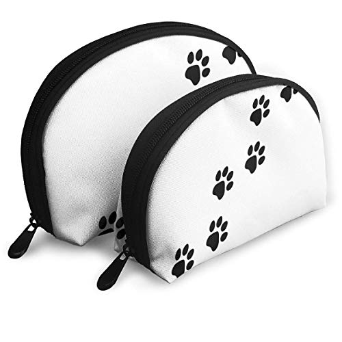 Paw Prints Icon Flat Style Footprints Animals Pouch Zipper Toiletry Organizer Travel Makeup Clutch Bag Portable Bags Clutch Pouch Storage Bags