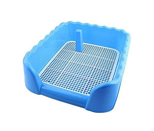 DAN Hundetoilette - Toilette für Hunde mit Zaun/Schutzwand und Post, für kleine Hunde, Innen/Außenbereich (42×42×15CM),Blau
