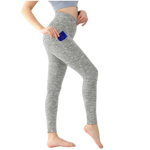 QTJY Leggings Deportivos con Bolsillo Mujer Fitness Yoga Pantalones elásticos de Cintura Alta Pantalones Ajustados Leggings de Entrenamiento al Aire Libre DM