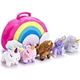 PASSIONFRUIT Stuffed Toy Unicorn Animal Set – Set of 5 Stuff Toys for Toddlers – with Rainbow Carry Bag – Stuff Toy for Girls – 2 Unicorns, Kitty, Puppy, and Narwhal – Age 3, 4, 5, 6, 7, 8 Year Old