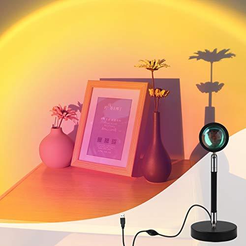 Sunset Lamp,Sunset Projection Lamp,Sonne lampe,350°Drehung LED Projektor Licht Nachtlicht,Romantic Moderne Wohnzimmer Schlafzimmer Deko Stehlampe Fotografie Hintergrund
