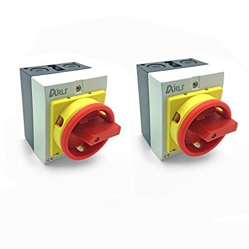 Hauptschalter 4 polig Drehschalter mit Kunststoffgehäuse IP65 2 x 16A 4P16A-G Trennschalter 16 amper Trenn Dreh Haupt Maschinen Schalter 4pol 230 - 440 V Kunststoff Gehäuse 2 Stück ARLI