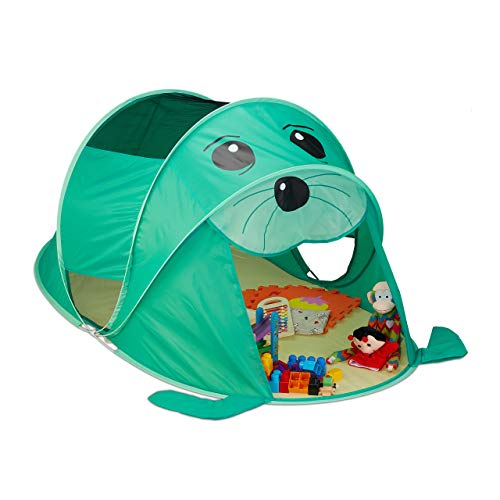 Relaxdays 10033026 Spielzelt Robbe, Pop Up Zelt Kinder, Jungen & Mädchen, Kinderzelt drinnen & draußen, 86x100x182cm, grün/gelb