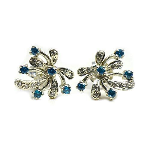 Caratyogi - Pendientes de circonita cúbica de estilo elegante de plata de ley con cierre de mariposa hechos a mano para mujeres y niñas