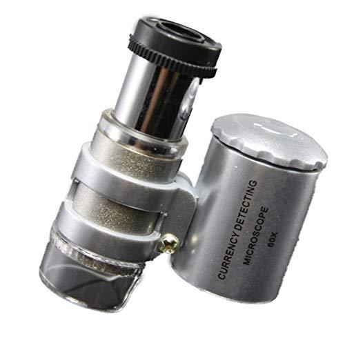 Haltbare Art und Weise kreatives Mini 60x Taschen-Mikroskop Schmuck Lupe Lupe Glas-LED-UV-Licht Brand New (Silber)