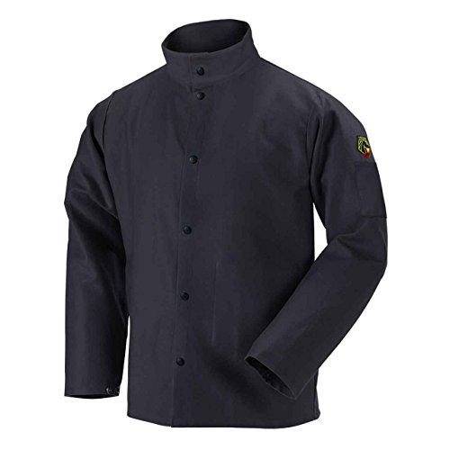 Black Stallion FBK9-30C Flame-Resistant Cotton Welding Jacket, Black, X-Large