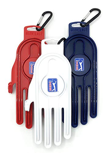-Glove Dryer-Glove Shaper-Official Licensed Product of The PGA Tour-Extend Glove Performance-Glove Accessory-Put an End to Crinkly Stiff Golf Gloves-Includes Golf Bag Carabiner Clip (White Left Hand)