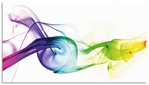 Artland Spritzschutz Küche aus Alu für Herd Spüle 90x50 cm Küchenrückwand mit Motiv Abstrakte Welle Moderne Kunst Rauch Abstrakt Kreativ T5QF