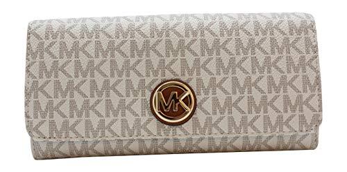 Michael Kors Geldbörse, weiß, 4x10x20 cm, Echtes Leder, Fulton, Damen, MK-Logo