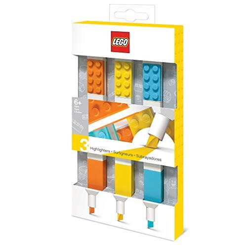 Lego 3 Pack Highlighters; Orange, Yellow, Azur