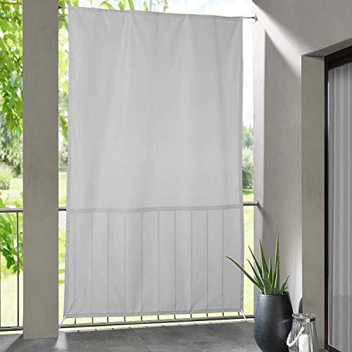 Clothink Seitlicher Balkonsichtschutz Wasserdicht Sonnenschutz Windschutz Sichtschutz Balkon Terrasse Grau-Weiss L: 230 x B: 140 cm