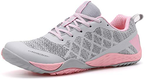 WHITIN Women's Minimalist Barefoot Shoes Low Zero Drop Trail Running Camping Size 8.5 Wide Toe Box for Female Lady Fitness Gym Workout Sneaker Tennis Flat Comfortable Treadmill Pink 39