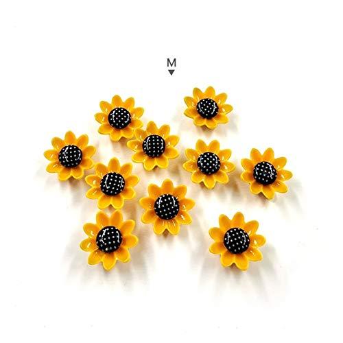 Pegatinas para neceras 10 unids flores amarillas imán magnet Modo de dibujos animados Pegatina Pegatina Resina Imanes de refrigerador para el hogar Accesorios de decoración de bricolaje ( Color : M )