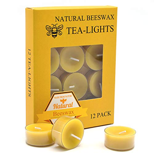 12pcs Natural Beeswax Tealight Candles - Organic Candle Natural Scent Smokeless Clean Burning