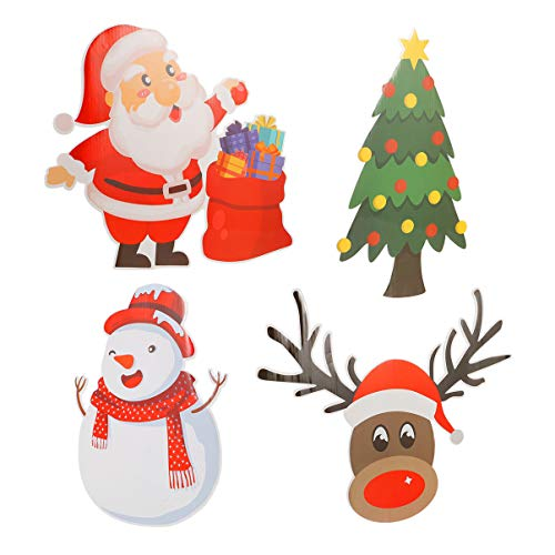Amosfun Pack of 4 Christmas Yard Signs with Stakes Santa Claus Reindeer Snowman Christmas Tree Outdoor Sign Holiday Christmas Garden Lawn Decorations Winter Wonderland Ornaments