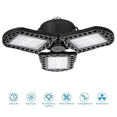 60W LED Garage Lights, 6000LM Deformable LED Garage Ceiling Lights with 3 Adjustable Wings, E26 LED Shop Light for Warehouse, Workshop, Basement (No Motion Detection) (1 Pack, 60W)