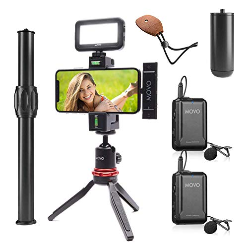 Movo iVlog-DI-Duo Wireless Lavalier Microphone for iPhone Vlogging Kit with Smartphone Rig, LED Light, and Tripod - Lightning Lapel Mic Compatible with iPhone and iPad Devices