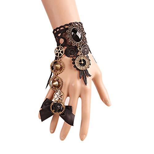Damen Lolit Retro Gothic Style Schwarz Nieten Metall Fingerlose Biker Kostüm Handschuhe COS Armband