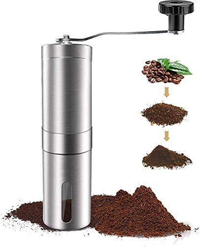 Manual Coffee Grinder, Portable Hand Coffee Grinder with Adjustable Setting,Conical Ceramic Burr Grinder Stainless Steel Coffee Mill for Drip Coffee, Espresso, Press Used in Home and Travel