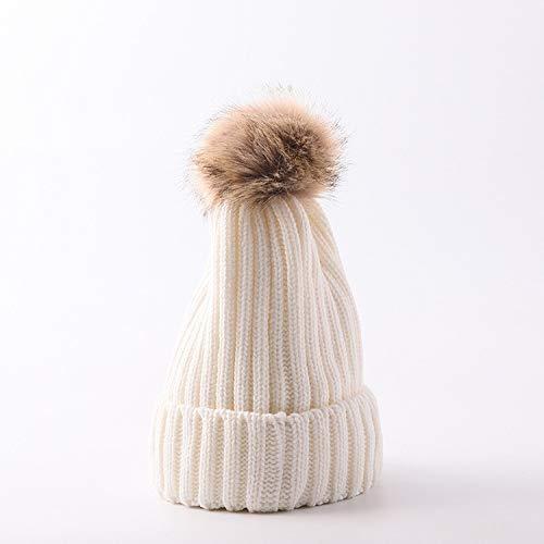 mlpnko Frauen Wollmütze Dicke warme Strickmütze Imitation Braid Haarball Ohrenschützer Outdoor-Kopfkappe weibliche Milch weiße Kinder