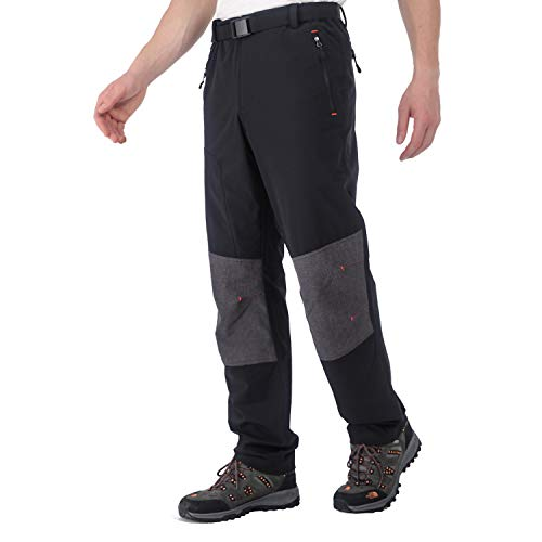 MIER Men's Quick Dry Lightweight Hiking Pants with Reinforced Knee Nylon Outdoor Cargo Pants, Stretch and Elastic Waist, Black, 34