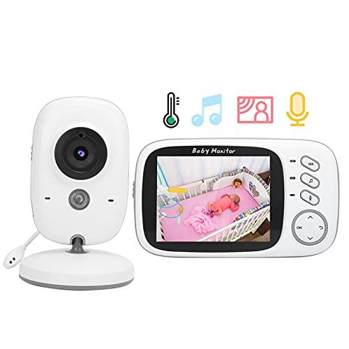 Monitor de video para bebés, visión nocturna Pantalla de visualización de video de 3.2 pulgadas Monitor de bebé Pantalla de temperatura para seguridad del bebé para la noche(Transl)