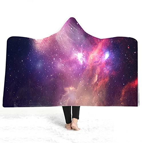 Cosmic Galaxy Manta con Capucha con Estampado 3D Lana Invierno Cálido Sofá Escuela Hogar Viaje Picnic Manta usable 150 * 200Cm