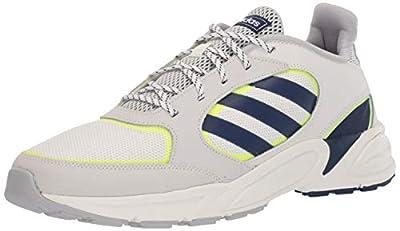 adidas Men's 90s Valasion Sneaker, Cloud White/Dark Blue/hi-res Yellow, 12 M US