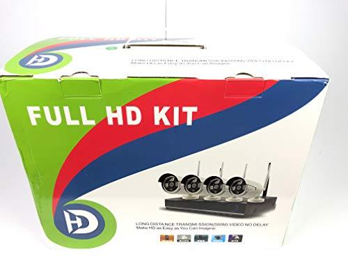 KKmoon CCTV Kit 4CH 1080P HD WiFi NVR Kit con 4pz 1,0MP Wireless WiFi Impermeabile Esterno Bullet IP Camera per CCTV Sistema di Sorveglianza di Sicurezza Supporto P2P Onvif IR-CUT Visione Notturna