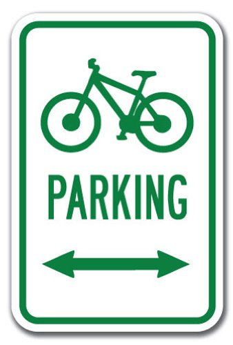 """Bicycle Parking with Double Arrow with Symbol Sign 12"""" X 18"""" Heavy Gauge Aluminum Signs"""