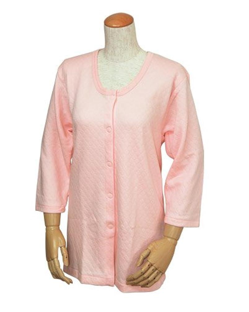 航海洗剤励起婦人前開きキルト肌着 8分袖 W461 LLサイズ/ ピーチ