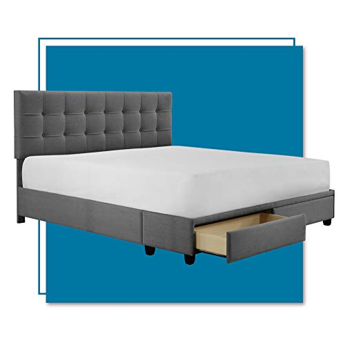 ClickDecor Edmond Bed Frame with Storage, Modern Adjustable Height Headboard, Soft Fabric Upholstery, King Size, Dark Gray
