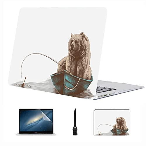 Compatible con Macbook Air 11'13' Pro 15'16' Oso marrón parado en la Madera Estuche rígido de plástico para Macbook Pro Accesorios de protección para computadora portátil con Alfombrilla de Mouse