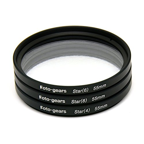 55mm Star-Effect Cross Filter Starburst Twinkle Effect Tiffen Filters 4 6 8 Point Set for Canon Nikon
