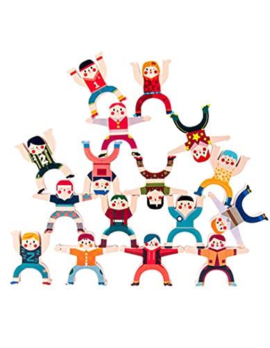 [リトルスワロー] バランスパズル 木製パズル お家時間 木製ブロック バランス遊び ファミリー ゲーム インテリア 大人 ユニーク 脳トレ プレゼント 玩具 こども 立体パズル きのおもちゃ (人)