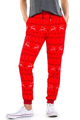 Tipsy Elves Women's Red Reindeer Xmas Joggers: M