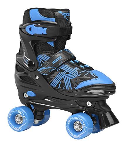 Roces Jungen Quaddy 3.0 Boy Größenverstellbarer Kinder-Rollschuh, Black-Astro Blue, 38/41