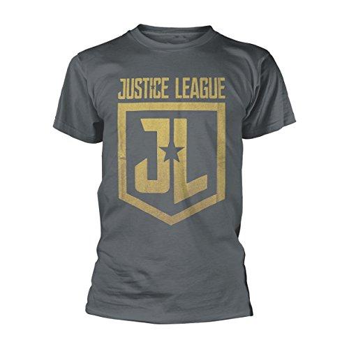Justice League T Shirt Classic Shield nuovo Ufficiale DC Comics Uomo Charcoal