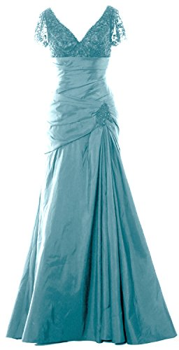 MACloth Women Short Sleeve V Neck Long Mother of Bride Dress Formal Evening Gown (34, Turquoise)