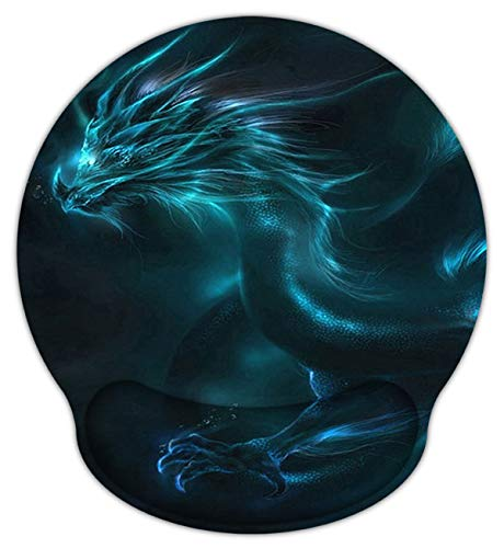 Meffort Inc Mouse Pad with Wrist Rest Support & Non-Slip Base, Durable Ergonomic Gaming Mousepad - Blue Dragon Design