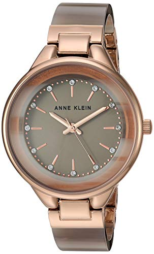 Anne Klein Women's Swarovski Crystal Accented Gold-Tone and Tan Resin Bangle Watch, AK/1408TNRG