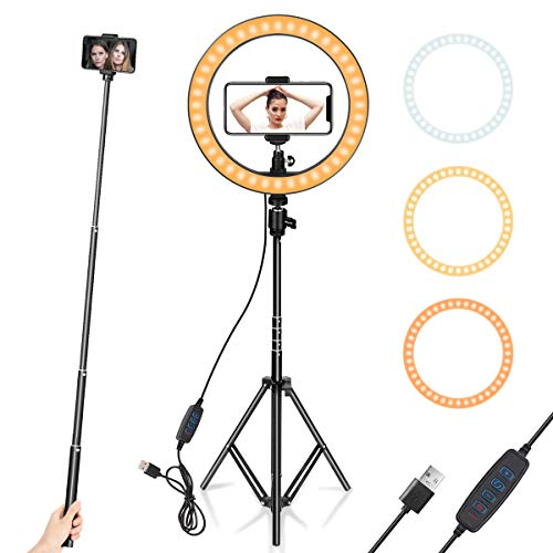 Ring Light 10' with Tripod Stand & Phone Holder for YouTube Video, Desktop Camera Led Ring Light for...